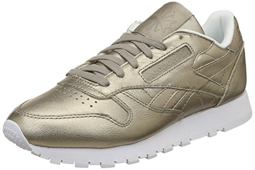 Reebok Classic Leather L, Damen Low-top, Grau (Pearl Metallic-grey Gold/white), 36 EU (3.5 UK)