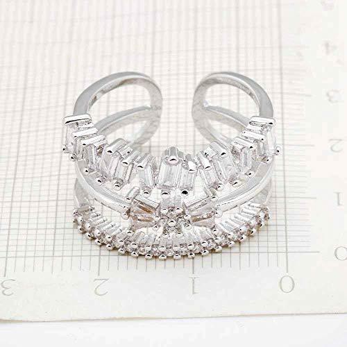PRAK Damen Ring 925 Sterling Silber Verstellbar,Persönlichkeit Design Schöne Strahlend Klar Crystal Ring Mode Hochzeit Schmuck Liebhaber Geschenk Sekt
