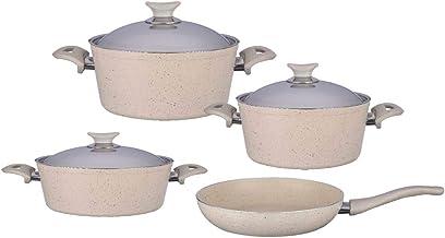 Turkish Granite Cookware Set 7 Pcs - Steel Lids - Beige