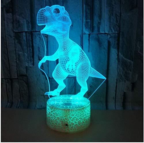 Test 7 Farbe Blinkende Acryl 3D Saur Nachtlicht Usb Ladegerät Riss Basis Farbverlauf Led Schlafzimmer Lampe Geschenk Für Kinder