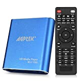 AGPtek Media Player 1080P HD Digital Media Player - MKV / RM - HDD SD / USB HDMI Supporto HDMI CVBS e YPbPr uscita video con telecomando e l'adattatore di alimentazione 5V 2A - Blu