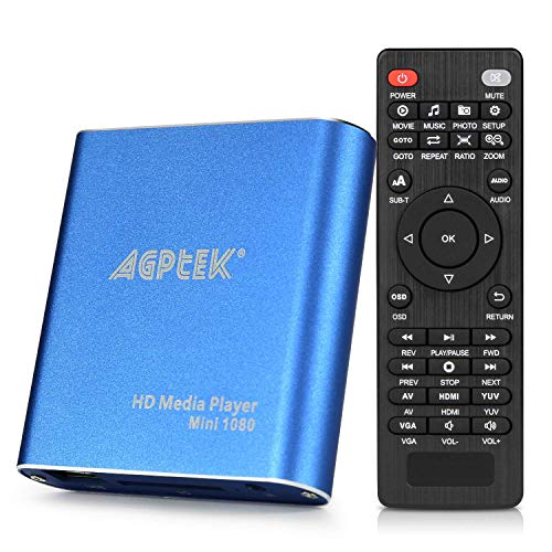 AGPtek Media Player 1080P HD Digital Media Player - MKV / RM - HDD SD / USB HDMI Supporto HDMI CVBS e YPbPr uscita video con telecomando e l'adattatore di alimentazione 5V 2A - Blu