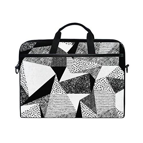 Ahomy 38,1-15,4 Zoll Laptop Tasche 3D Schwarz Weiß Geometrische Figur Dreieck Canvas Stoff Laptop Tasche Bussiness Handtasche mit Schultergurt für Damen und Herren