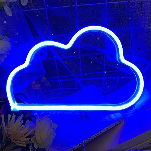 LED Wolke - Protecu USB batteriebetrieb Nachtlicht für Wanddekoration Kunstdekoration Kinder Zimmer Dekoration & Wolke LED Neonlicht für Bar, Weihnachten, Partys, Schlafzimmer (Wolke, blau)