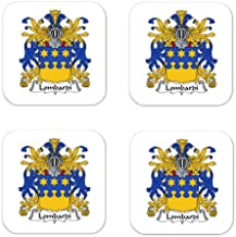 Lombardi Family Crest Square Coasters Coat of Arms Coasters - Set of 4