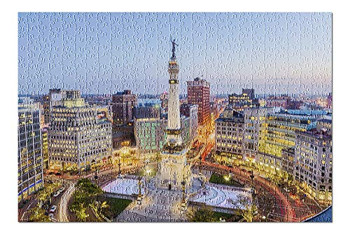 Indianapolis, Indiana - Downtown Buildings and Park - Photography A-93788 93788 (Premium 500 Piece Jigsaw Puzzle for Adults, 13x19, Made in USA!)