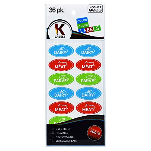 36 Assorted Kosher Labels - 12 Blue Dairy, 12 Red Meat, 12 Green Parve Stickers -Oven Proof up to 500°, Freezable, Microwavable, Dishwasher Safe, English - Color Coded Kitchen Tools by The Kosher Cook
