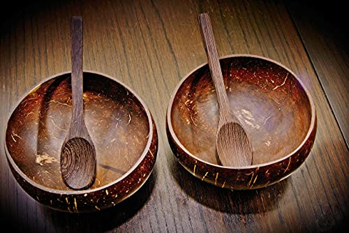 2 x Kokosnusschalen Müslischalen Coconut Bowl nachhaltig 100% Naturprodukt inkl. Holzlöffel