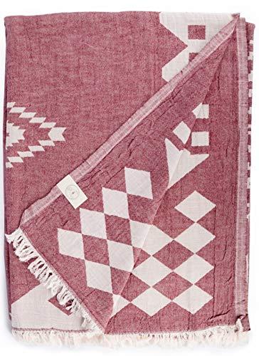 Bersuse Bahamas - Manta turca XXL de 100% algodón, 190,5 x 228,6 cm, Bahamas_BLAN_Burgundy