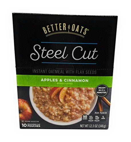 Better Oats Steel Cut Oats with Flax, Apples and Cinnamon, 10 Pouches (Pack of 2)
