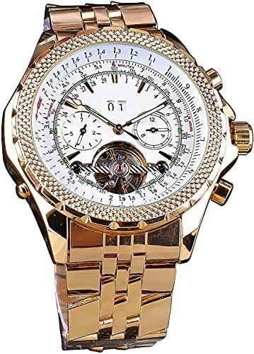 QHG Reloj mecánico automático Multifuncional clásico Luminoso taquimetre Blanco Cara Dorada