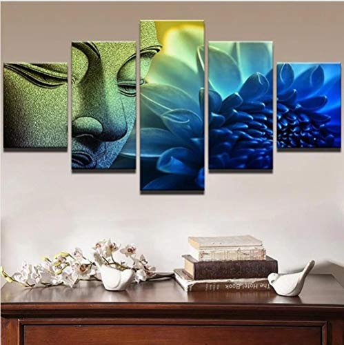 Myrdsio Multi Panel Wall Art 5 Piece Print On Canvas Pictures Buddha Statue And Lotus Art Print Images Modern Home Decoration Wallpaper Framed