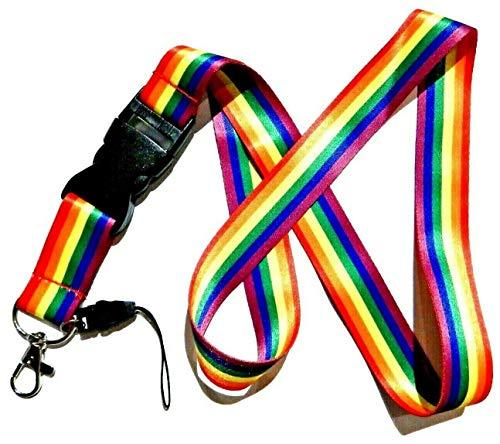 Rainbow Lanyard with detachable key clip LGBT Gay Pride neck strap ID badge holder Ally, Multicolor, 28' strap
