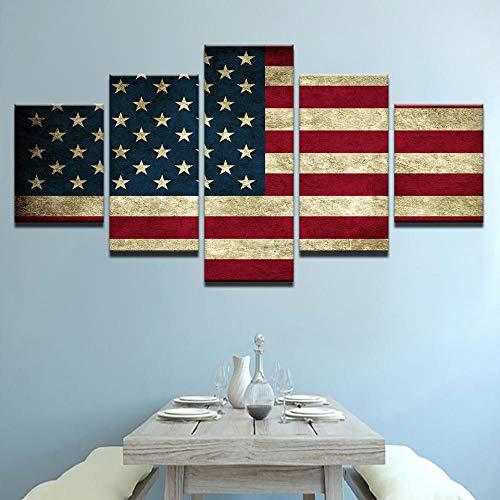 VGFGI Amerikanische Flagge Amerika Antike HD Leinwand Kunstdruck Malerei Wohnzimmer Wanddekoration 5 Stück Dekoration Bild Modular