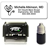 Heart Stethoscope Return Address Stamp - Bundle with Custom Stamp, Extra Refill Ink and 100 Matching Adhesive Address Label Stickers - for Doctor, Physician, Nurse, Medical Professional
