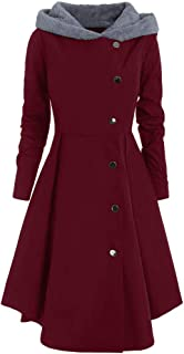 Women's Overcoat Pgojuni Ladies Plus Size Asymmetric Fleece Hooded Single Breasted Long Drap Buttons Coat