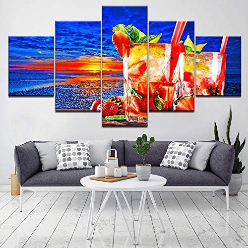 SLSMD-ART fotobehang 5 stuks canvasdruk zonsondergang strand en drinken woonkamer muurkunst-decoratieve schilderijen, 100x55cm Eén maat 20 x 35 cm x 2 20 x 45 cm x 2 20 x 55 cm x 1