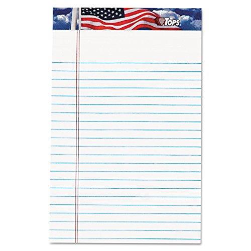 Tops American Pride Writing Tablet, 12,7x 20,3cm, perforiert, weiß, schmal, Rule, 50Blatt pro Block, 12Pads pro Pack (75101)