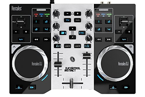 Hercules DJ Control Instinct S Series Party Pack (neue Version, 2-Deck DJ Controller, integr. Soundkarte, LED Party Light USB, DJUCED 18°, PC / Mac)