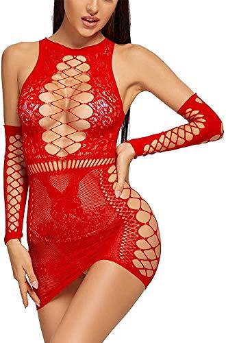 Bommi Fairy Damen Sexy Spitzen Set Mesh Dessous Set Fischnetz Babydoll Mini Kleid Free Size Bodysuit Nachtwäsche Unterwäsche Sexy Perspektiv Erotische Dessous Lingerie Erotik Reizwäsche (Rot)