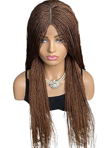 JBG SERVICES Authentic African Braided Wigs - Micro Twist Wig for African American Women - Lace Closure for Natural-Look Hairline - 2 Hair Pins Included - Color 30 Medium Auburn 22 Inch