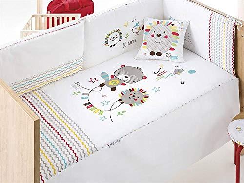Pirulos Bonito Conjunto Edredón + Protector/Chichonera + Cojín Diseño Spin para Maxi Cuna Bebé, Medidas 72x142 cm Color Blanco con Colores
