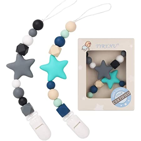 TYRY.HU Silicone Teething Beads Binky Holder Soothie Teether Clips for Baby Boys or Girls Pacifier Clip White+Grey 2 Pack