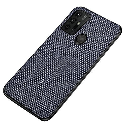 Motorola Moto G10用/G30用 ケース キャンバス調 シンプル 保護ケース 衝撃吸収 カバー モトローラ モト G10/モト G30 頑丈ケース スマホケース おしゃれ スマホカバー スマートフォン ケース カバー(ブルー)