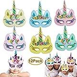 Dusenly 12 Stück Einhorn Masken - Gold Glitter Regenbogen Einhorn Masken Party Cosplay Geburtstag...