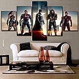 Liga de la Justicia Batman Wonder Woman Comic - DC 5 Paneles Lienzo Arte decoración de la pared-200...