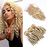 Zara Hair Russian Blonde Funmi Curly Human Hair Bundles with Closure #613 Platinum Blonde Romance Bouncy Curls Virgin Hair Weave Spiral Curly Hair Extensions with 4x4 Lace Closure (12 with 14 16 18)