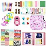 Leebotree Paquete de Accesorios Compatible con cámara Instax Mini 9 Incluye: Caso/Album/Lente para Autoretrato/Filtros/Marcos para Fotos/Marcos de Películas/Bordes/Pegatinas (Rosa Flamingo)