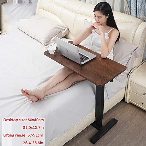 Stahlrohr Couch Beistelltisch mit Braunes Massivholzbrett,Höhenverstellbar, Rollen,Computer Table für Bett Sofa Krankenhaus Krankenpflege Lesen Essen