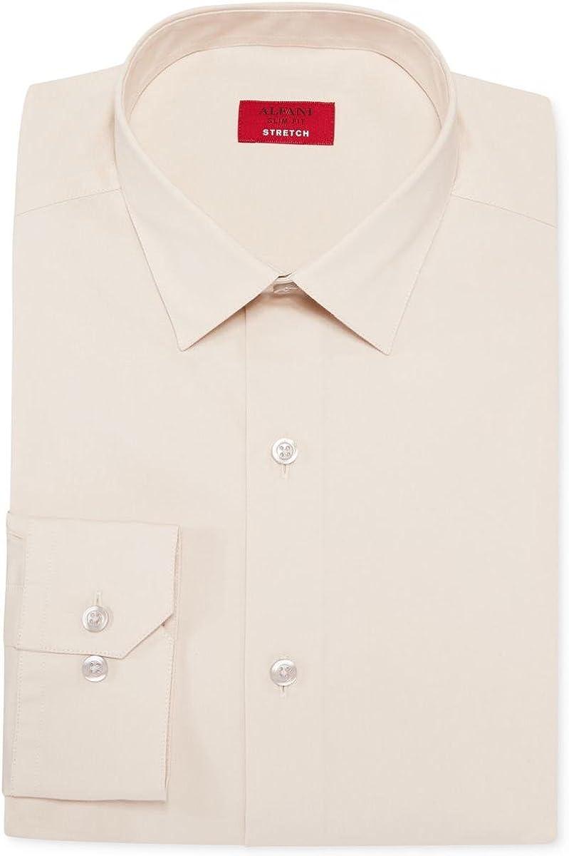 Alfani Mens Slim Fit Stretch Button-Down Shirt Beige XL