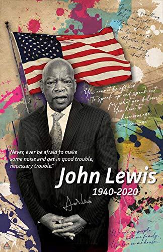 777 Tri-Seven Entertainment John Lewis Poster Good Trouble Quote Black History Wall Art Print (11x17), Multicolor