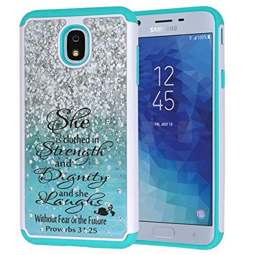 Galaxy J7 2018 case,J7 Aero/J7 Star/J7 Top/J7 Aura/J7 Crown case ,Bible Verse Proverbs 31:25 Studded Rhinestone Bling Hybrid Dual-Layer Shock Protective Case Cover for Samsung Galaxy J7 2018 Green