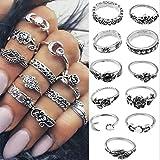 Yean - Juego de anillos de plata vintage con diseño de hojas de flores y media luna para mujeres y niñas
