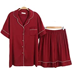 Kleding Plus size dames satijnen pyjama set, zomer ijs zijde shirt korte mouw top pyjama, 2-delige vrijetijdskleding Soft ...