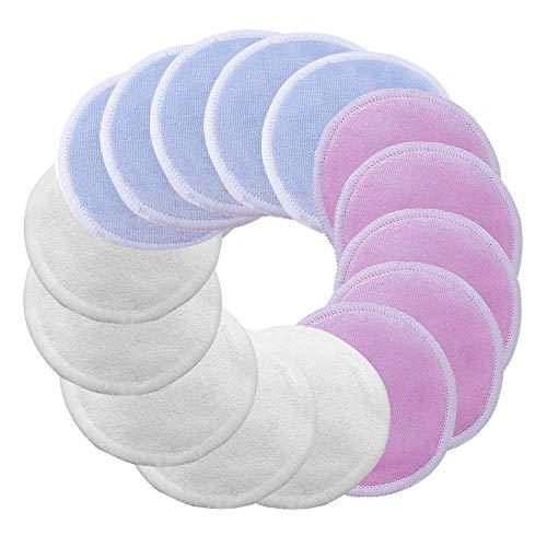 15 Pack Tampons Réutilisables Nettoyants Pour le Visage, Tampons de Démaquillants Bio Ultra-Doux Lavés Volwco, Tampons Cosmétiques en Coton en Bambou à 3 Couches Avec Sac à Linge (Couleurs de Mélange)