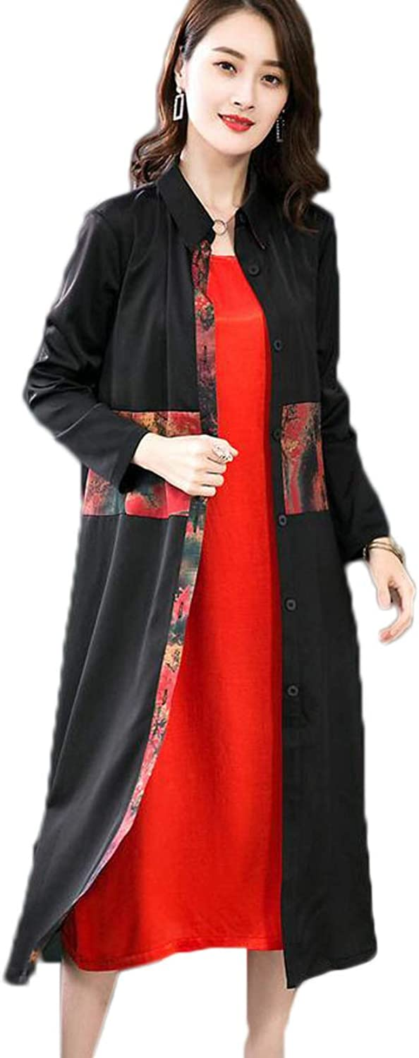 Spring and Autumn New Shirt Long Sleeve Loose Thin Exposed Elegant Temperament Women's Long Jacket Windbreaker (color   Black, Size   M)