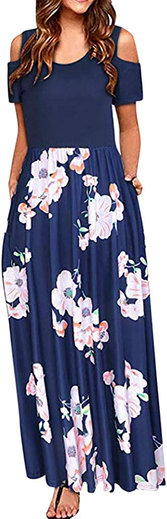 Gerichy Womens Dresses Casual, Women's O Neck Elegant Long Maxi Dress Plus Size Summer Party Cami Long Dress