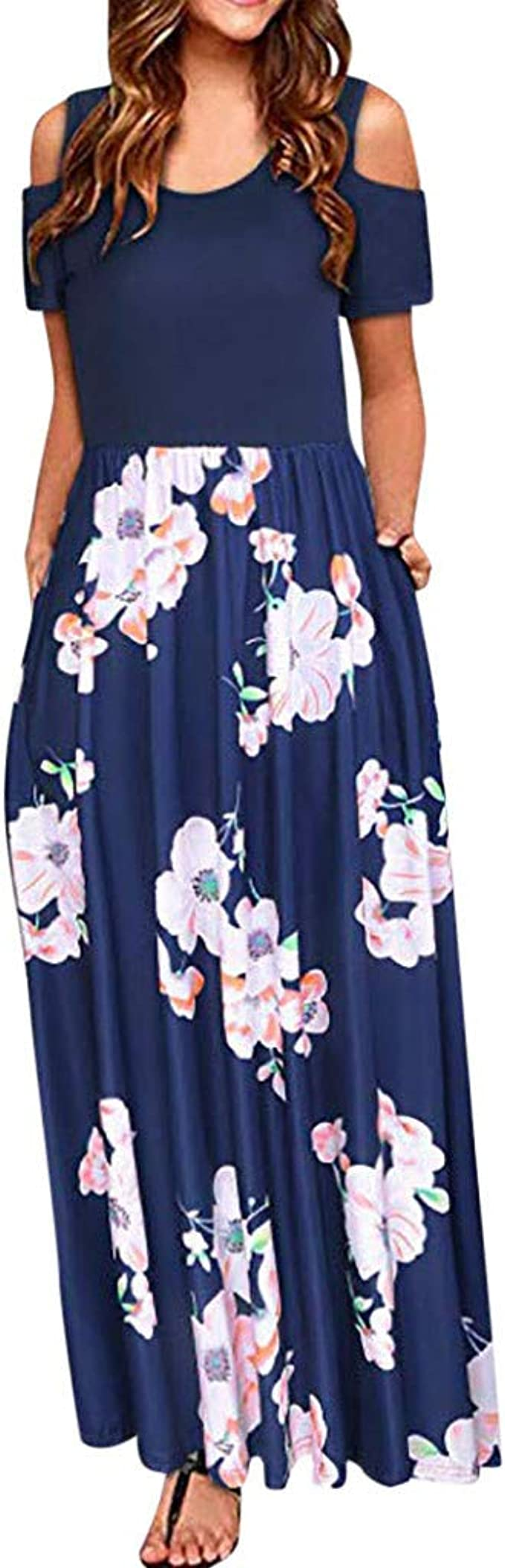 Zegeey Damen Kleid Sommer Kurzarm Schulterfrei Einfarbig Sommermode Sale  Blumenkleid Maxi Kleid A Linie Kleider Vintage Elegant Frühling LäSsige ...