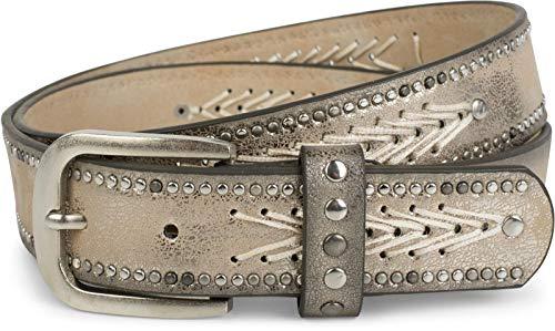 styleBREAKER Nietengürtel mit Fadenmuster und kleinen Flachnieten, Vintage Nieten Gürtel, kürzbar, Unisex 03010077, Farbe:Antik-Gold, Größe:90cm