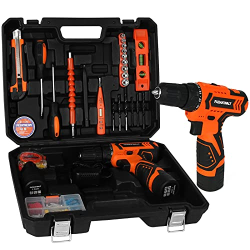 FADAKWALT Tool Kit Set with 12V Cordless Drill, 36Pcs Power Tools Set with 2pcs Li-Ion Battery, Charger, 0-1350RMP Variable Speed, 3/8'' Keyless Chuck, 21+1 Clutch, for Home Repair Maintain