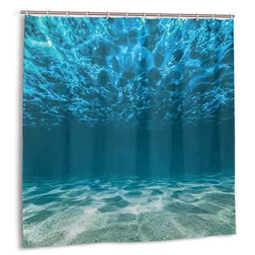 Dfform Wasserdicht Duschvorhang,Kieselboden wellige Oberfläche Tropische Seelandschaft Abgrund Unterwasser sonniger Tag Bild,wasserdicht hochwertige Qualität Duschvorhänge inkl 12 Ringe