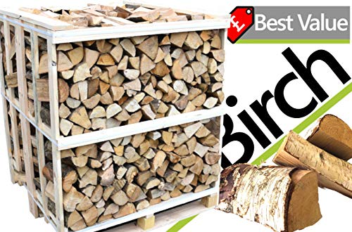 Kiln Dried Birch Firewood Full Crate - 2.1m³ Birch Hardwood - Kiln Dried to Under 20% - Fierce Blaze - High Quality Logs for Wood Burners, Stoves, Long Burners, Pizza Ovens & More