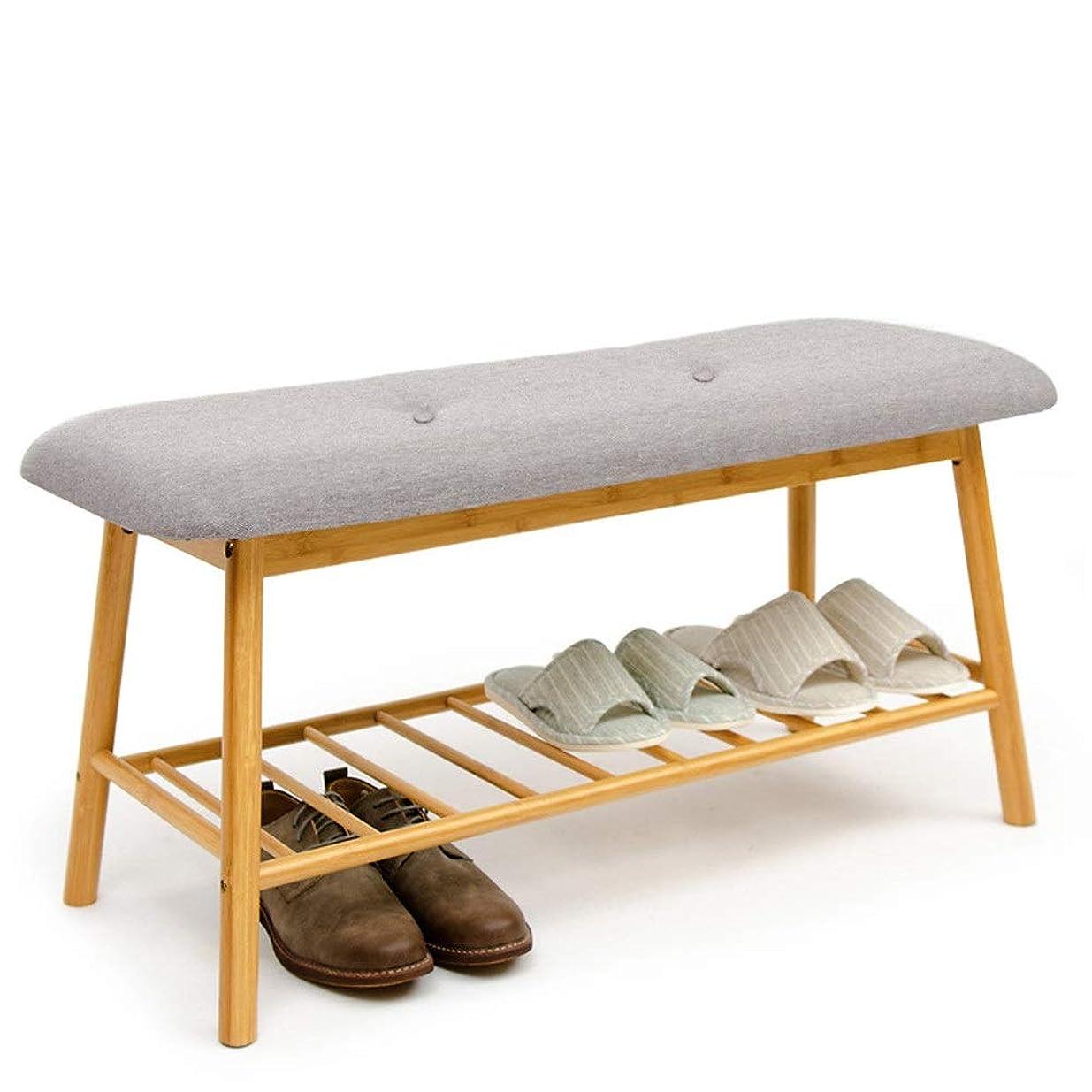 寛大な積分見える木製の靴収納ベンチラック棚クッション座席玄関廊下オーガナイザー靴ラック 整理しやすくする (色 : Round leg color, サイズ : 53*30*45cm)