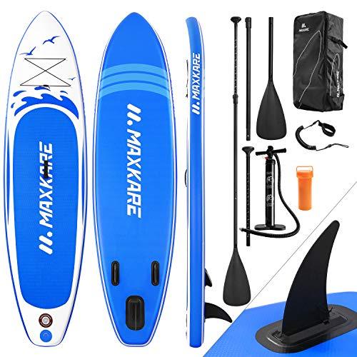 MaxKare Stand Up Paddling Board Aufblasbares SUP Board Set Aufblasbar 305*76*15 cm 6 Inches 6 Zoll Dick 150KG Paddle Surfboard Stabiles Leichtgewicht Komplettes Zubehör Paddel Hochdruck-Pumpe Rucksack