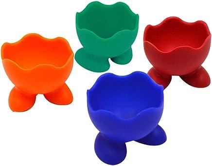 Preisvergleich für AiSi 4-er Silikon Kinder Eierbecher Set, Eierständer Eier Becher mit kleine Füße, Spülmaschinen geeignet, grün blau rot orange