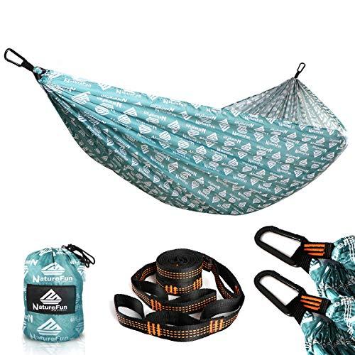 NATUREFUN Ultraleichte Reise Camping Hängematte   300 kg Tragkraft,Atmungsaktiv, Schnelltrocknendes Hängematte  2 x Premium Karabiner, 2 x Schlingen Inbegriffen   Für Draußen Drinnen Garten